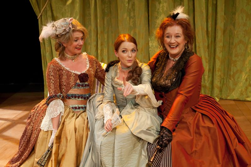 Jackie Clune, Hannah Spearritt and Maggie Steed in The Belle's Stratagem