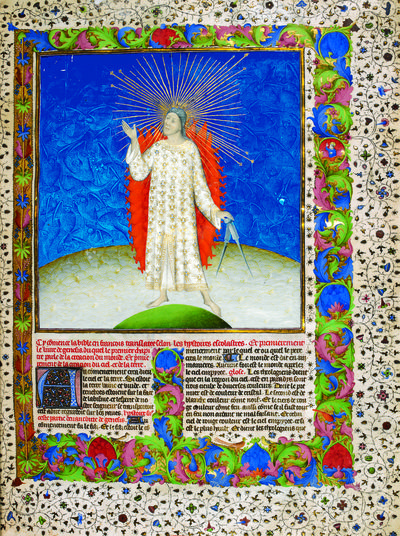 God the Creator in a French History Bible, Bible historiale, Clairefontaine and Paris, 1411, London, British Library, Royal 19 D. iii, vol. 1, ff. 2v-3