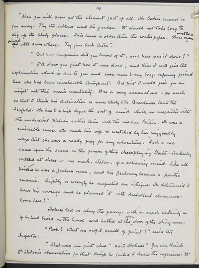 Arthur Conan Doyle's manuscript of the Sherlock Holmes short story The Adventure of the Retired Colourman published in 1926 (c) The Conan Doyle Estate
