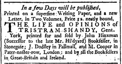 London Chronicle December 20 1759 ad for Tristram Shandy