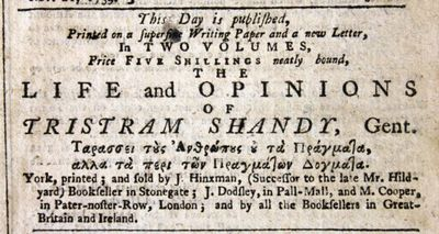 York Courant December 18 1759 ad for Tristram Shandy