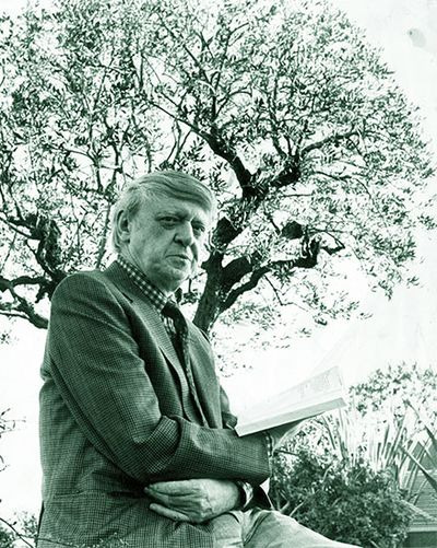 Photograph by Mark Ellidge of the author Anthony Burgess pictured in Casino gardens, Monte Carlo, February 1984