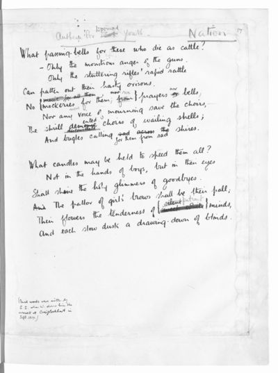 Wilfred Owen, Anthem for doomed youth 'Used by permission of the Estate of Wilfred Owen' (1)