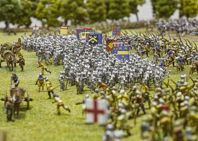 Agincourt battlefied model detail of English soldiers, credit Royal Armouries