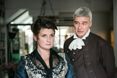 Katherine Tozer as Charlotte Lennox and Mark Elstob as Samuel Johnson