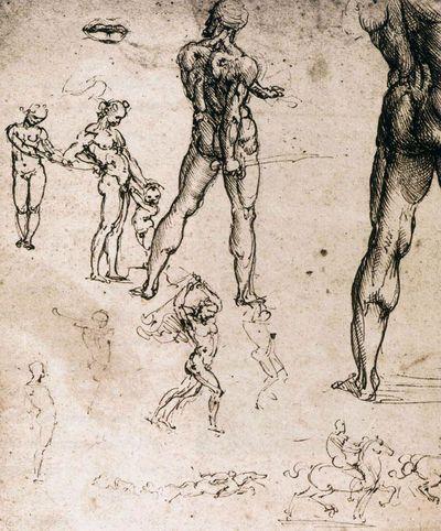 Leonardo da Vinci, figure studies