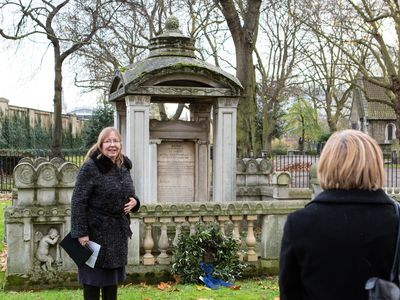 Helen Dorey at the Soane mausoleum