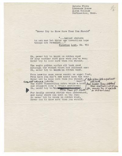 144, PLATH (SYLVIA) Two typed and autograph drafts of her poem ʻAdmonitions'