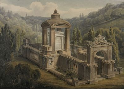 Bird's-eye view of the Soane Family Tomb, by George Basevi, June 1816