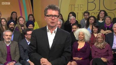 Nicky Campbell on the set of 'The Big Questions', 2014