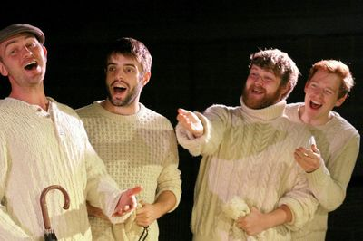 The Woman in the Moon Shepherds (L-R Joel Davey, Rhys Bevan, James Askill and Robert Heard) Photo by Robert Piwko. Copyright The Rose Theatre Trust