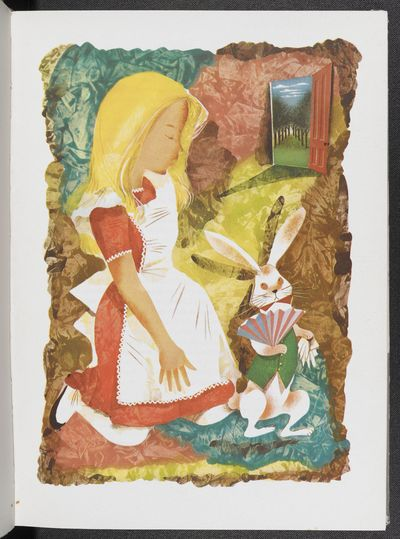 An illustration of Alice with the White Rabbit from an illustrated edition of Alice's Adventures in Wonderland by Leonard Weisgard (1949) © The Estate of Leonard Weisgard