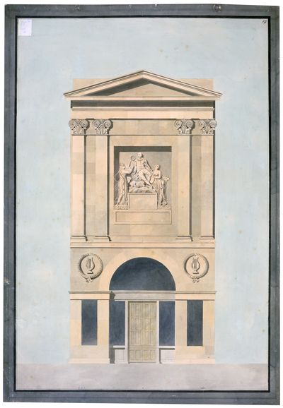 Soane office, Royal Academy lecture drawing the façade of Shakespeare Gallery, c.1806-15