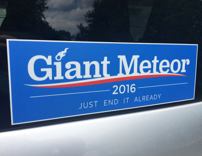 Giant Meteor bumper sticker